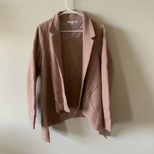 CAbi wool dusty rose pink open blazer cardigan